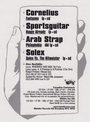 Matador Records, Zine Ad, 1998