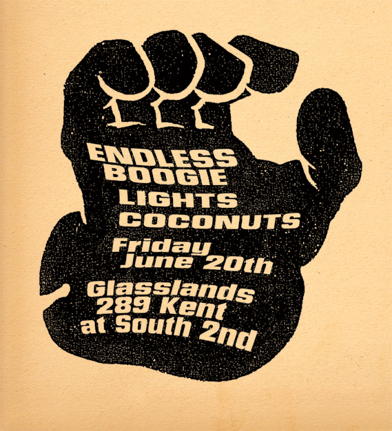 Endless Boogie, Lights, Coconuts, Glasslands, Poster, 2008